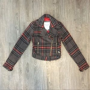 Abercrombie & Fitch Plaid Moto Jacket Sz X-Small